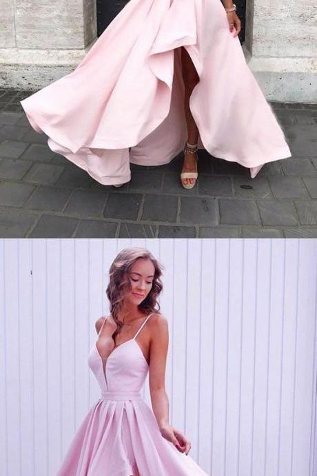 Simple pink v neck long prom dress, pink evening dress,Formal Prom Dress,Party Dresses,Fashion Prom Dress,8102620