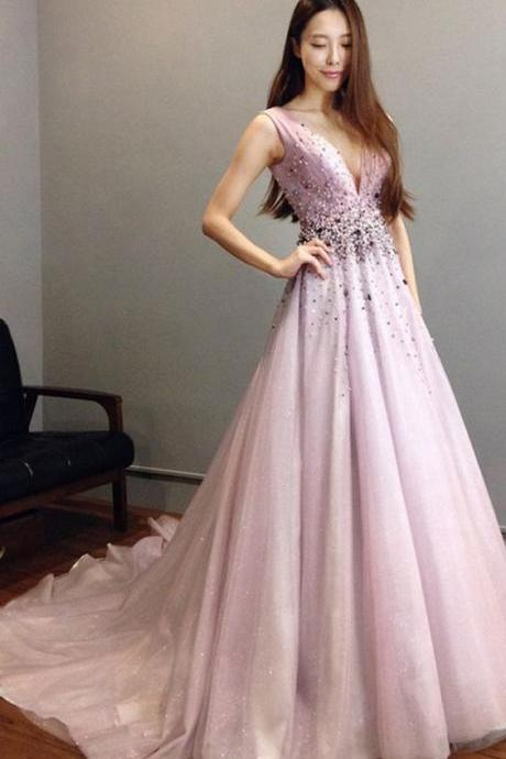 Charming Prom Dress, Sexy V Neck Prom Dresses, Tulle Evening Dress,Formal Dress,Party Dresses,Fashion Prom Dress,8111912
