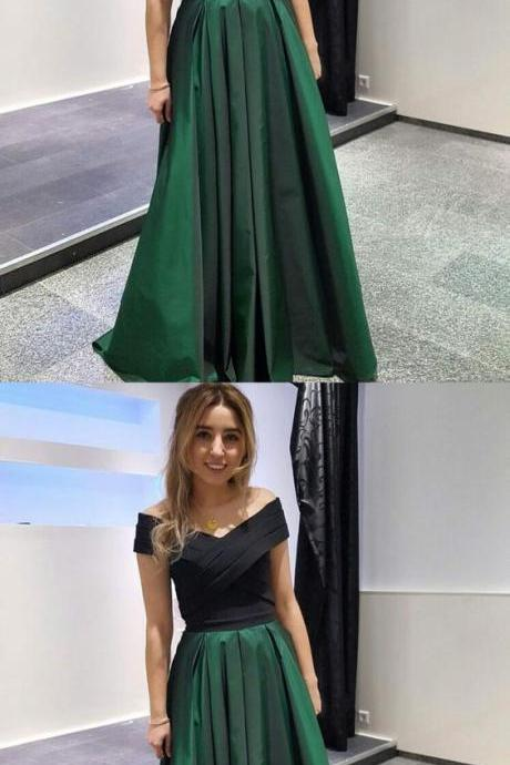 Satin Off-the-shoulder A-line,Floor-length Dark Green Prom Dress,Formal Dress,Party Dresses,Fashion Prom Dress,8111917