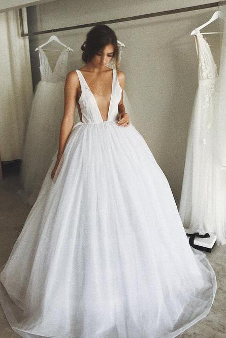 Deep V-Neck Long Wedding Dresses,White Evening Ball Gowns Backless Formal Dress,Bridal Dress,Wedding Party Dresses,8111919