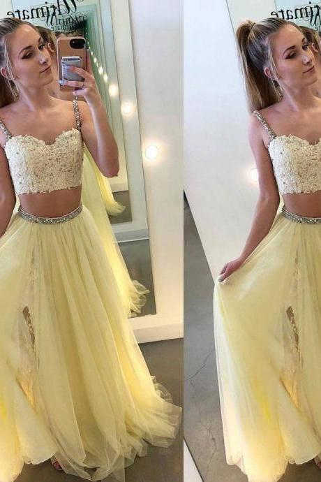 Sexy Two Pieces Yellow Tulle Straps A Line Long Prom Dress With Lace,Formal Dress,Party Dresses,Fashion Prom Dress,8120801