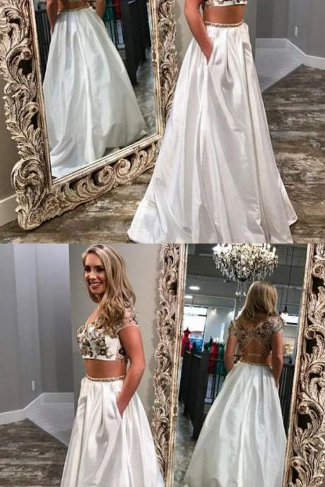 Unique Two Piece White Prom Dresses With Pockets, Modest Open Back Party Dress,Formal Dress,Party Dresses,Fashion Prom Dress,8120803
