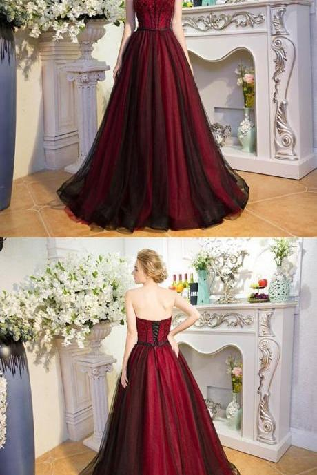 Sexy Strapless A Line Long Prom Dress,Formal Dress,Party Dresses,Fashion Prom Dress,8120805
