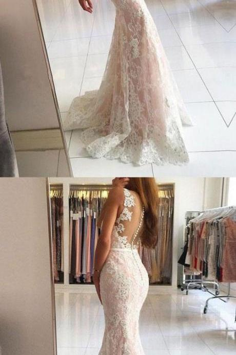Sexy V-Neck Mermaid Prom Dresses,Lace Applique Prom Dress,Formal Dress,Party Dresses,Fashion Prom Dress,8120807