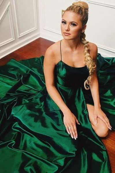Hunter Green Spaghetti Straps A-Line Simple Slit Prom Dress,Formal Dress,Party Dresses,Fashion Prom Dress,8120810