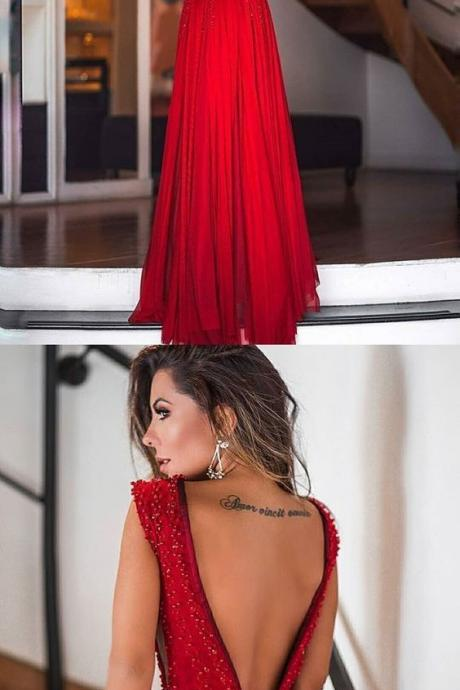 Red A-Line Backless Sexy Deep V-neck Beads Sleeveless Dress,Formal Dress,Party Dresses,Fashion Prom Dress,8120811