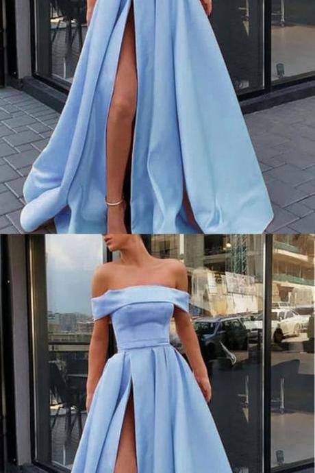 Off the Shoulder Slit A Line Satin Girls Elegant Prom Dresses Long Party Gown,Formal Dress,Party Dresses,Fashion Prom Dress,8120813