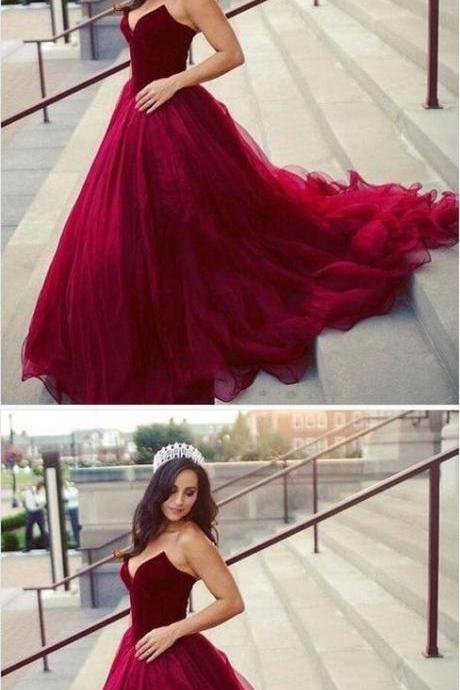 A-line V-neck Dark Red Tulle Prom Dress,Formal Dress,Party Dresses,Fashion Prom Dress,8120816