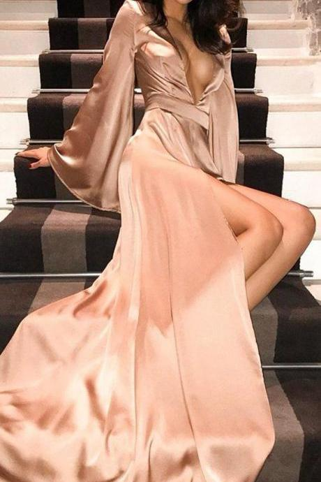 Sexy Deep V-Neck Long Sleeve A-Line Slit Prom Dress,Party Dresses,Fashion Prom Dress,8120821