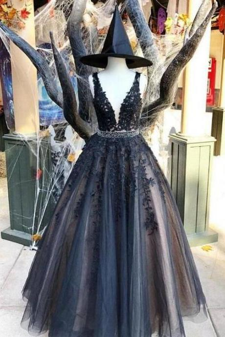 Tulle Black Lace Applique A-line V-neck Long Prom Dress,Party Dresses,Fashion Prom Dress,8120826