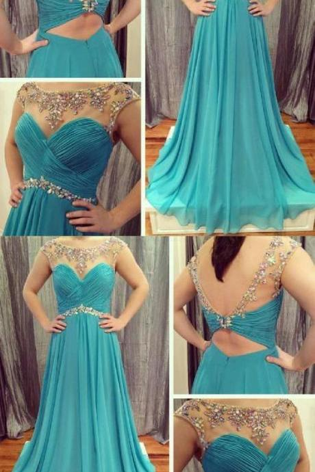 Trendy Chiffon Evening Dresses, Blue Evening Dress,Fashion Prom Dress,8121505