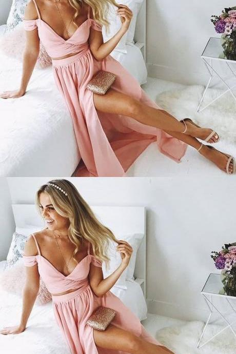 Stylish Pink Two Piece Chiffon Prom Dress,Off The Shoulder Split Evening Dress,Sexy Evening Dress,Fashion Prom Dress,8121510