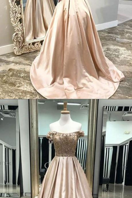Champagne satin beaded long prom dress, evening dress,Sexy Evening Dress,Fashion Prom Dress,8121513