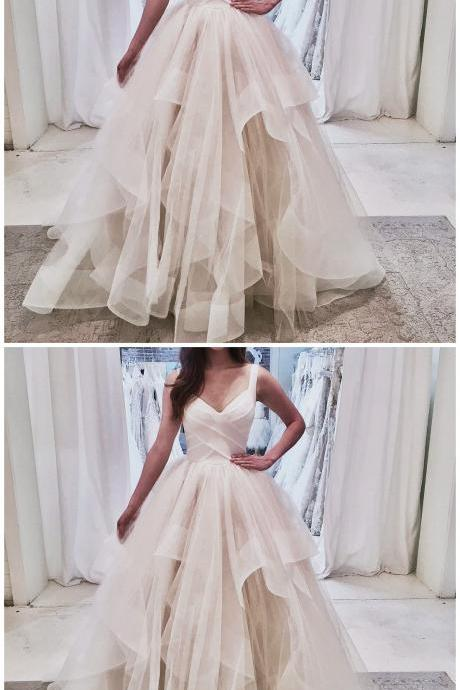 White V-Neck Tulle Spaghetti Straps Prom Dress,Sleeveless A-Line Formal Dress, evening dress,Sexy Evening Dress,Fashion Prom Dress,921803