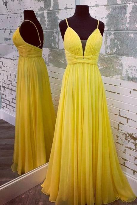 Elegant Straps Yellow Long Formal Dress,Elegant Long Party Dress, Sexy Evening Dress,Fashion Prom Dress,950204