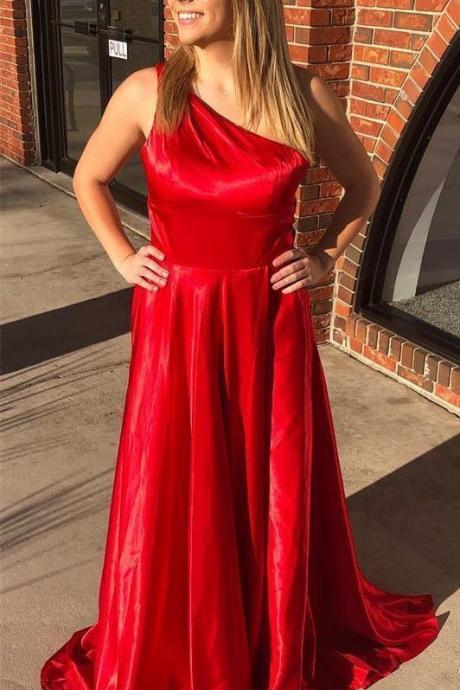 One shoulder red long prom dress,Sexy Evening Dress,Fashion Prom Dress,Cheap Prom Dress,950209