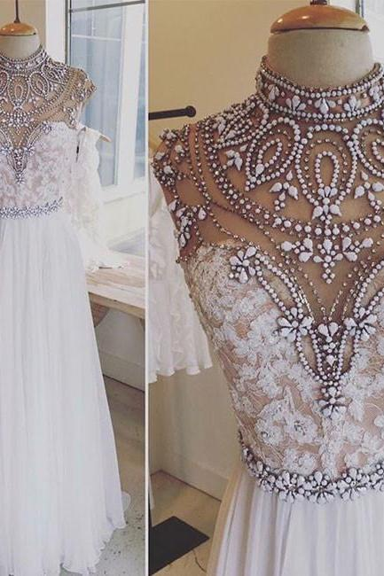 Luxurious A-Line High Neck White Lace Long Prom Dress with Rhinestone,41101