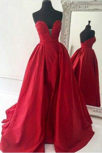 High Fashion A-Line Sweetheart Red Satin Long Prom/Evening Dress,41106