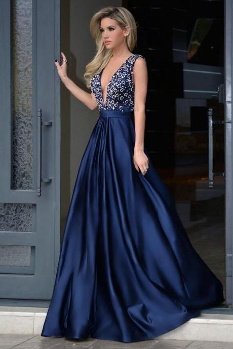 Glamorous A-Line Deep V-Neck Sweep Train Royal Blue Long Prom Dress with Beading,41107