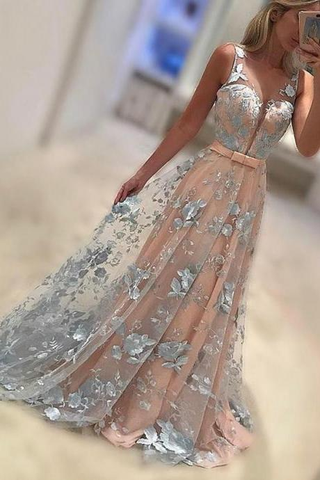 New Arrival A-Line V-Neck Sweep Train Lace Long Prom Dress,2017 Evening Dress,41201