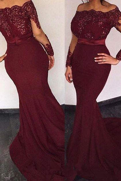 Burgundy Prom Dress, Long Prom Dresses, Mermaid Evening Gowns, Chiffon Party Dresses, Off the Shoulder Formal Dresses,41203
