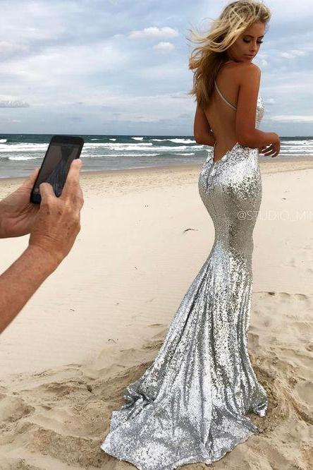 Silver Prom Dress,Sexy Prom Dress,Sequined Prom Dresses,Formal Gown,Evening Gowns,Sequin Prom Gown For Teens,41205