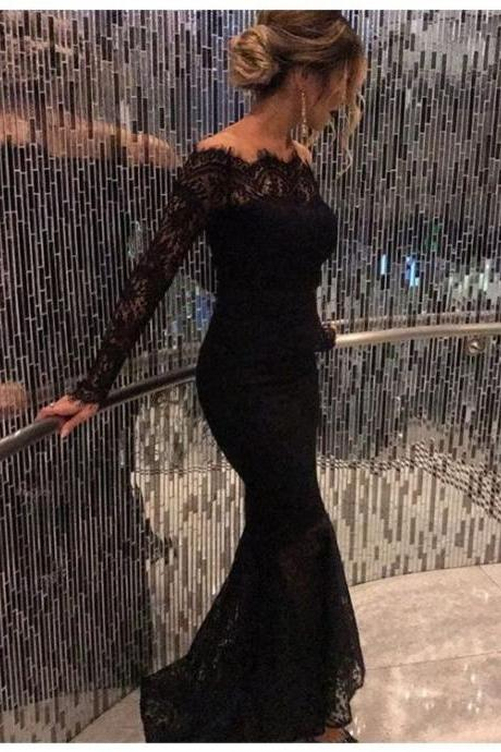 Black Prom Dresses,Prom Dress,Beaded Black Lace Off The Shoulder Backless Mermaid Formal Gown With Long Sleeve,41209