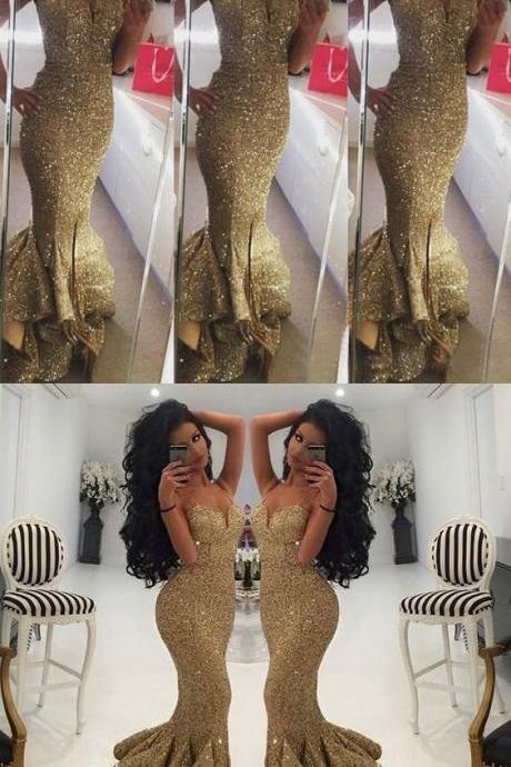 Strapless Prom Dresses,Gold Prom Dress,Modest Prom Gown,Sequins Prom Gowns,Sequined Evening Dress,Princess Evening Gowns,Sparkly Party Gowns,Backless Prom Gowns,Mermaid Evening Dress,Sexy Prom Dresses,41211