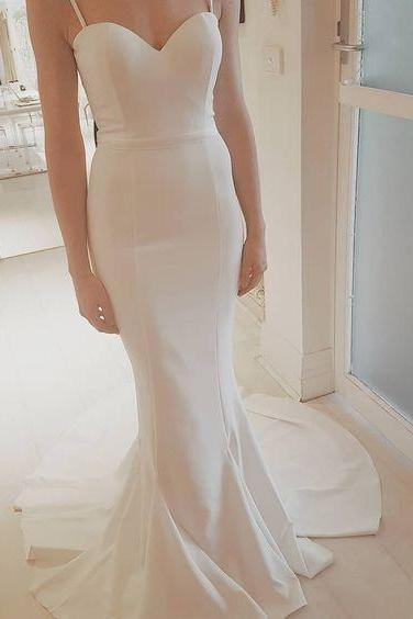 Sweetheart Spaghetti Strap Mermaid Long Wedding Dress, Bridal Gown