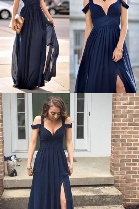 Navy Blue Bridesmaid Gown,Chiffon Prom Dress,Straps Prom Gown,Simple Bridesmaid Dress,Cheap Evening Dresses,41223
