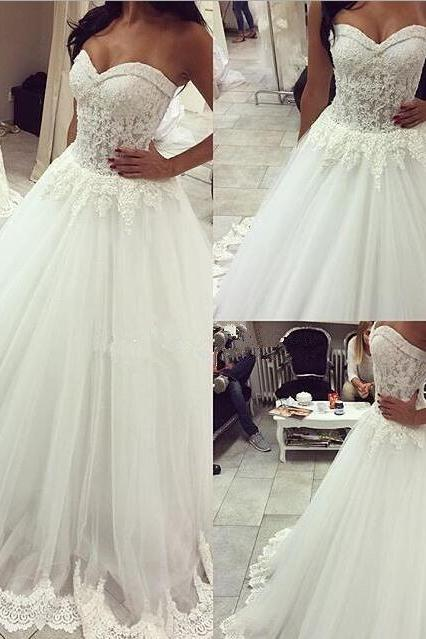 White Wedding Dresses,Sweetheart Wedding Gown,Lace Wedding Gowns,412