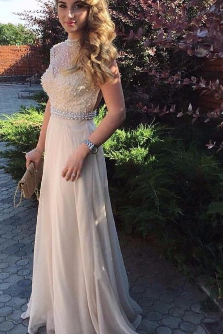 Sparkly High Neck Long Champagne A Line Pearls Prom Dresses 2017 Evening Party Dress,41230