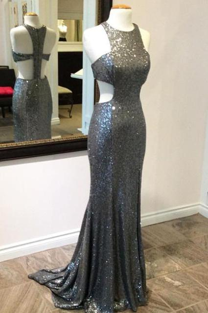 Grey Sequin Lace Sheath Prom Dresses Halter Neck Floor Length Women Dresses,41311