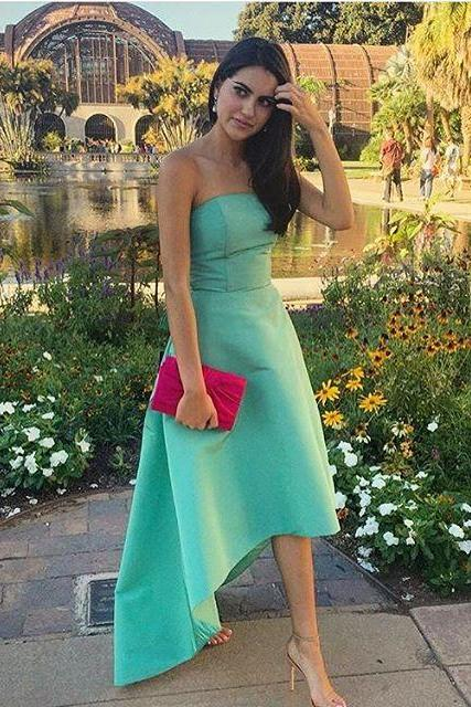Hi-low Solid Satin Prom Dresses Strapless Women Dresses,41312
