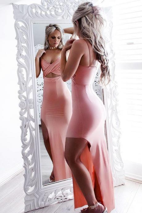 Mermaid Spaghetti Straps Pink Spandex Split-side Criss-cross Prom Dress, prom dresses, prom dresses 2017,41316