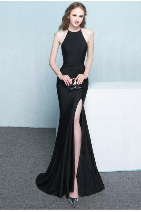 Beautiful Long Front Split Prom Dresses,Charming Simple Cheap Prom Gowns,413
