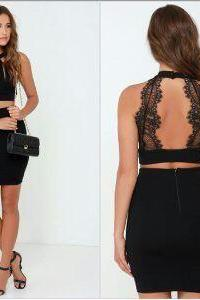 Custom Made Chic Black Lace Prom Dress,Sexy Back Lace Party Dress,Popular Black Evening Dress,41352