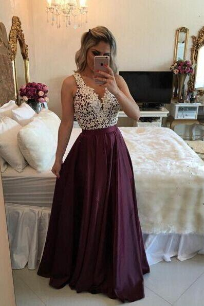 Custom Made Charming Burgundy Prom Dress,Lace Pearl Beaded Party Dress,Sleeveless Evening Dress,41356