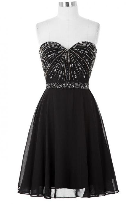 Black Beaded Embellished Sweetheart Short Chiffon A-Line Homecoming Dress