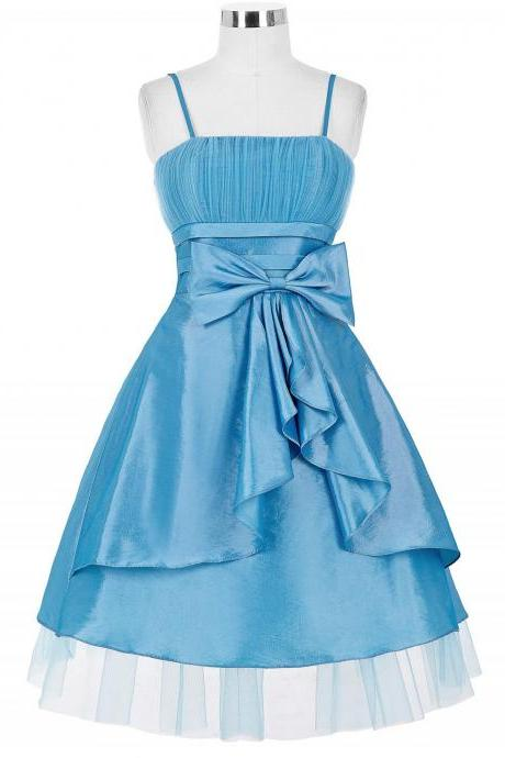 Spaghetti strap Short Homecoming Party Dress Featuring Oversized Bow and Ruched Bodice