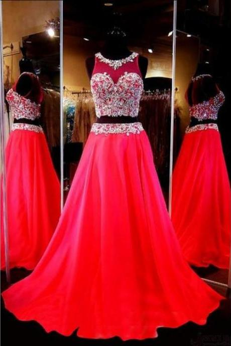 Two Pieces Beading Bodice Long Prom Dresses Evening Dresses,417