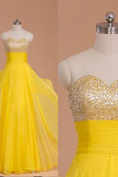 beaded yellow chiffon long prom dresses,sweetheart evening gown,4193
