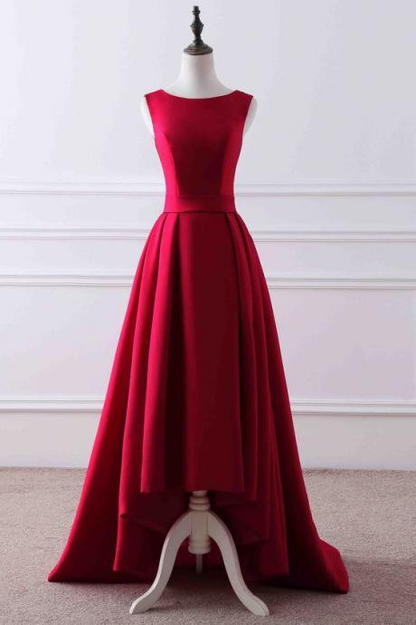 Red matte round neck high low train evening dress,42418