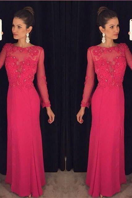 Charming Prom Dress,Long Sleeve Beaded Prom Dress,Bodycon Evening Dress,42426