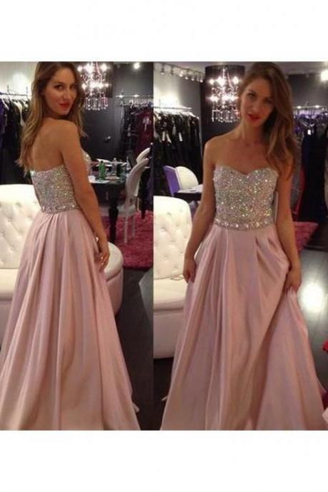 Pink Long Beaded Prom Dress, Sweetheart Zipper Back Floor Length Prom Dresses,42427