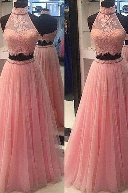 Fashion Long Two Piece Halter Neckline Prom Dress,Pink Lace Prom Dress with Open Back,4255