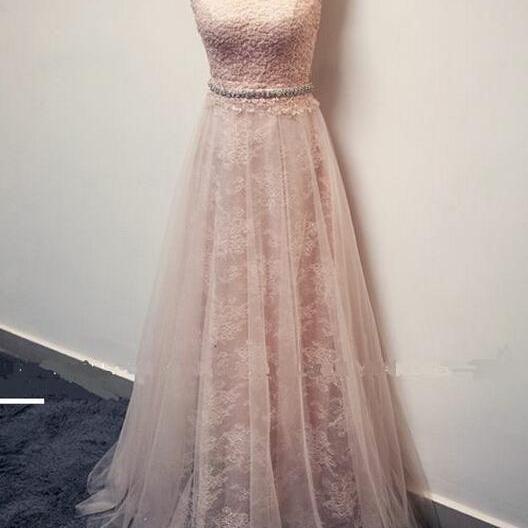 Sleeveless Lace Beaded A-line Floor-Length Prom Dress, Evening Dress