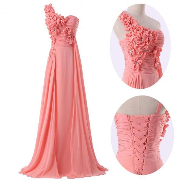 Bridesmaid Dress One Shoulder Flower Chiffon Evening Dress Prom Dress Custom Made Bridal Party Dress,42618