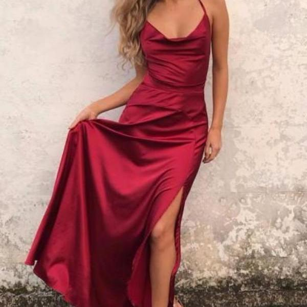 Sexy A-line Straps Red Long Prom Dress Evening Dress with Slit,Long Evening Dress,122320