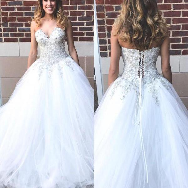 Sweetheart Beaded Long White Wedding Dress Bridal Gown,Wedding Gowns,122322